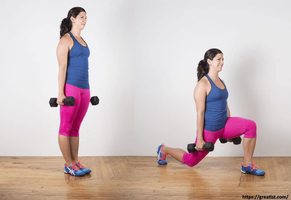 Lunges Using Dumbbells